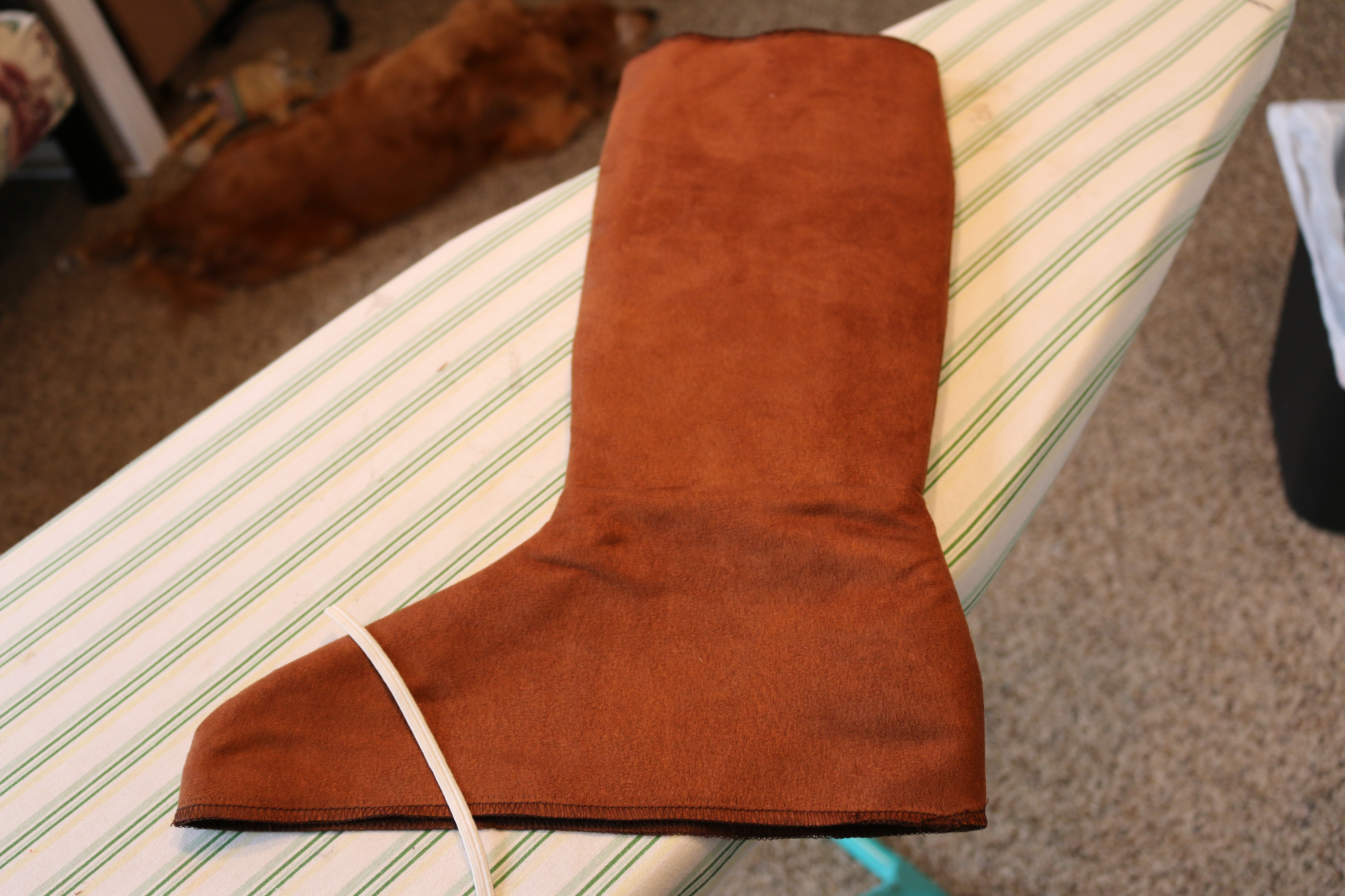 It should look like this!! Now sew small piece of elastic across the bottom & boot covers | Sewing with Scooby Snacks